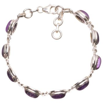 """Natural Amethyst Handmade Mexican 925 Sterling Silver Bracelet 6 1/2-7 1/4"""" S2061"""
