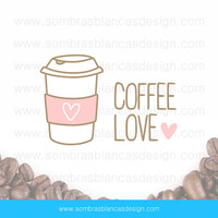 OOAK Premade Logo Design - Take-away coffee cozy - Perfect for a coffee accessories shop or a lifestyle blog