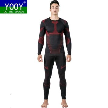 YOOY Thermal Skiing Underwear Sets Long Johns Warm Up Men Ski Snow Shirts and Pants Quick Dry Clothing For Winter Outdoor Sports