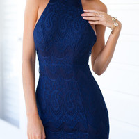 Blue Halter NecklineBackless Lace Embroidered Mini Bodycon Dress