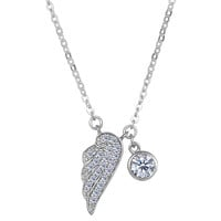 Sterling Silver And Cz Angel Wing Pendant With Side Dangling Charm Fashion Necklace - 18 Inch
