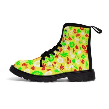 Yellow and flower women's Martin boots
