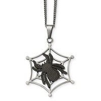 Stainless Steel IP Black-plated Spider & Polished Web Necklace
