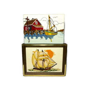 Two Nautical Embroidery, Vintage 1970s Maritime Scenes, Sunset Designs Clipper Ship