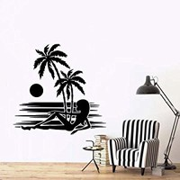 Wall Decal Vinyl Sticker Palms Branch Beach Tree Hawaii Sun Girl a122