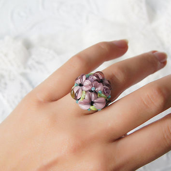 Light pink flowers lampwork ring, glass flowers ring, rosy ring FREE SHIPPING