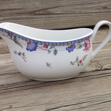 Gravy Boat with Blue and Rose Colored Floral Pattern