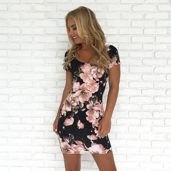 Garden of Roses Bodycon Dress in Black
