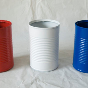 Same Sized Tin Cans Painted Red, Blue, White for Memorial Day or 4th of July centerpieces or decoration Upcycled patriotic American vases