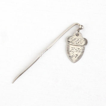 Antique Victorian Silver Acorn Love Token Charm Stick Pin - Vintage Acorn Shaped Pendant Initials Monogram Letters EA LM Eph 6-7 Jewelry Fob