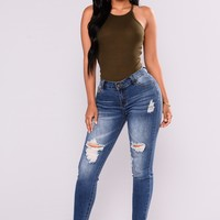 Young And Broke Ankle Jeans - Medium Blue Wash