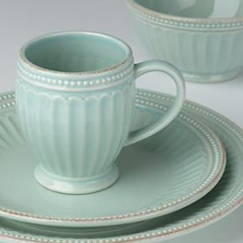 French Perle Groove Ice Blue 4-Piece Place Setting by Lenox