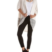 Ivory Combo Border Print Duster Kimono Cardigan by Charlotte Russe