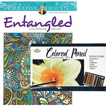 Entangled Creative Haven Coloring Book and Royal & Langnickel 36-piece Colored Pencil Art Set: Bundle of Two Items