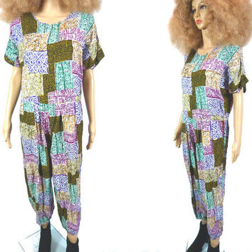 Vintage Jumpsuit, Ethnic Tribal Coveralls,  80s 90s Hippie Adult Onsie Made in India  Batik Jumpsuit Tapered Leg Genie Balloon Pant Boho