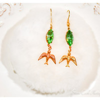 Green peridot rhinestone & brass bird earrings, pierced, dangle, handmade, vintage Old Hollywood style, marquis navette women's jewelery