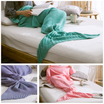 Mermaid Tail Blanket Adult Little Mermaid Blanket Knit Cashmere-Like TV Sofa Blanket Snuggie Couverture, 80x180cm 32x70in
