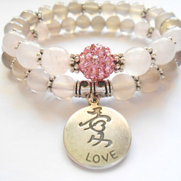 Love Rose Quartz Mala Bracelet,Yoga Jewerly,Stacking Bracelet,Wrist Mala,Pink Beaded Bracelet,Meditation,Energy&Strength Mala Set,For Her