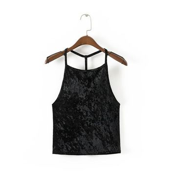 Summer Tank Top Velvet women  Cropped Tops Ladies Tank tops