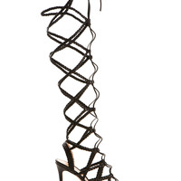 GIANVITO ROSSI BRAIDED HIGH HEELS BLACK LEATHER SANDALS