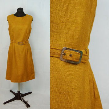 Vintage 60s linen dress  mustard yellow linen by vintagerunway