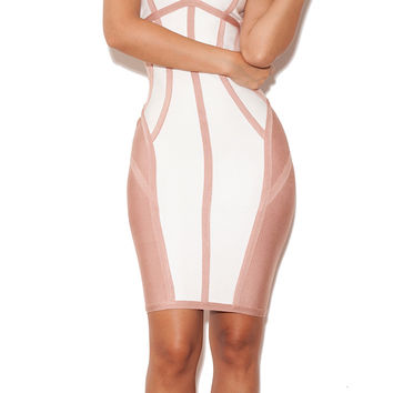 Clothing : Bandage Dresses : 'Tanaz' White and Nude Strappy Illusion Cut Bandage Dress