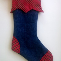 Upcycled Christmas Stocking, Red Print and Denim