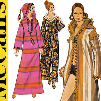 1970s Burnoose Pattern Uncut Bust 32 34 McCalls 2377 Maxi Caftan Robe Housecoat Beach Coat Arab Hooded Cloak Womens Vintage Sewing Patterns
