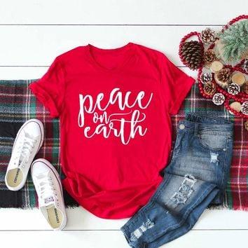 Peace on Earth slogan red t-shirt 90s fashion women unisex street style Christmas shirt aesthetic tumblr grunge casual tees tops