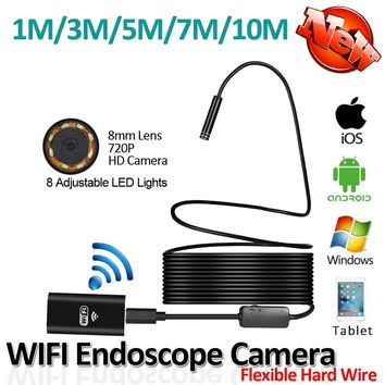 HD720P 2MP 8LED 8mm Lens Flexible Snake Hard Wire USB WIFI Android Iphone Endoscope Camera 10M 7M 5M 3M 1M Pipe Inspection Cam
