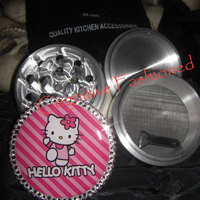 Kitty Hello With Beautiful White and Pink Crystals 4 Piece Grinder Herb Spice Aircraft Grade Aluminum C.N.C from Cognitive Fashioned