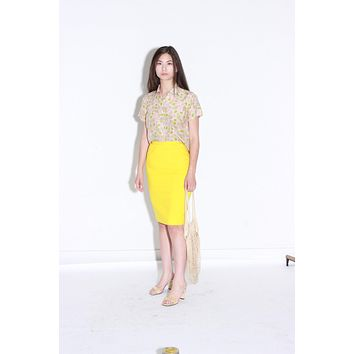 70s Yellow Wool Pencil Skirt / High Waist Skirt / Extra Small