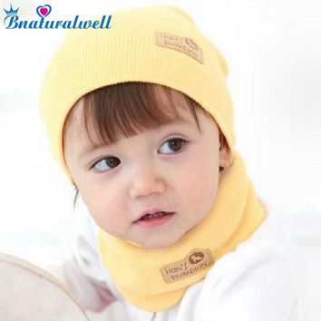 Bnaturalwell Spring Winter Baby Cap Girls Boys Children Knitted Hat and Scarf Set Kids knit hat with scarf set H346B