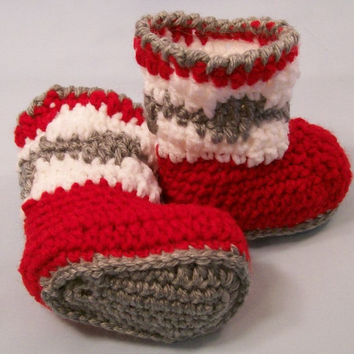 Baby Boy Boots, Crochet, Red White, and Grey Boots, handmade Baby Booties, Baby Boy gift, Baby shower Gift, made in the USA, #101