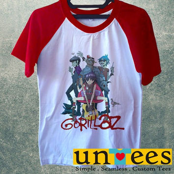 Women's Short Sleeve Raglan Baseball T-shirt - Gorillaz Band Logo design