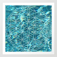 Flower of life in the water Art Print by Azima