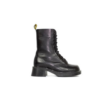 DR MARTENS 10 eye boots - made in england - black leather docs - lace up - heel boot - doc martens - eu 37 - us womens size 6 - 4 UK