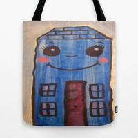 blue house Tote Bag by helendeer