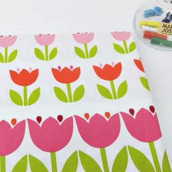 Modern Flower Fabric, Curtain Fabric, Quilt Fabric, Home Decor Fabric - Pink Tulips