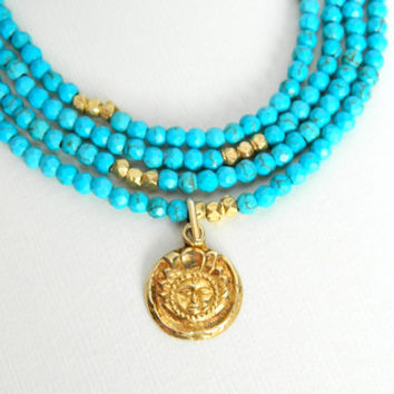 """Genuine, Natural Blue Turquoise, 24K Vermeil Gold nuggets and Tribal pendant ~ 38""""L ~ OOAK ~Boho ~ Summer ~ Long Necklace ~ Layer Necklace"""