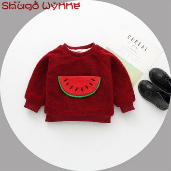 New Winter Baby Girls Long Sleeve O Neck Watermelon Thick Fleece Pullover Jacket Coat Kids Outerwear casaco roupas de bebe