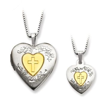 925 Silver Gold Center Heart with Cross Mother Daughter Necklace Set