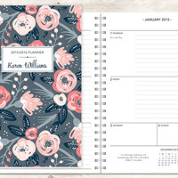 planner 2015 & 2016 12 month calendar | custom weekly student planner | personalized planner agenda daytimer | pink grey floral pattern