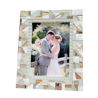 White and Gold Mosaic Picture Frame, Wedding Gift, 4 x 6 or 5 x 7 Frame