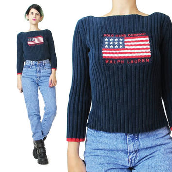 1990s Polo Sweater Ralph Lauren Vintage American Flag Sweater Navy Blue Sweater Knit Stretchy Ribbed Sweater Cropped Shrunken Jumper (XS/S)