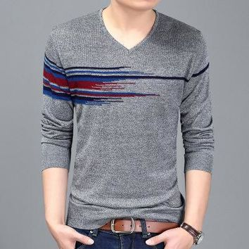 Men's Sweater Autumn New Urban Fashion Jacquard Hedging Long-sleeved Male V-neck Sueters Hombre Mens Knitwear Sweaters