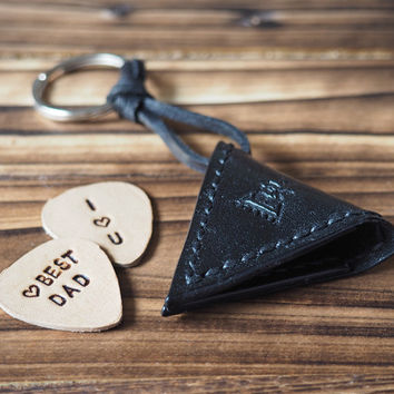 Personalized Leather Guitar Pick Case Keychain #Black