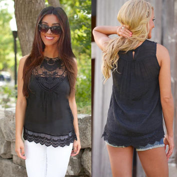 Summer Women Blouse 2016 Fashion Black Tops Sleeveless Blouse Casual Lace Blouse