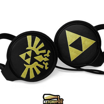 Zelda headphones earphones handpainted Triforce black gold