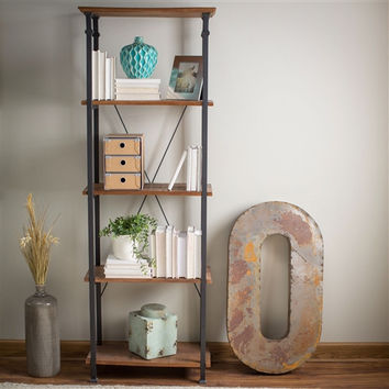 Vintage Industrial Style4-Shelf Reclaimed Wood Bookcase